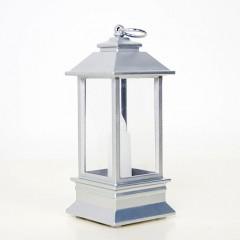LED фонарик со свечкой серебро 13 см