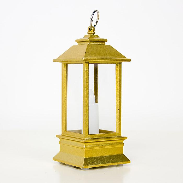 LED фонарик со свечкой золото 13 см