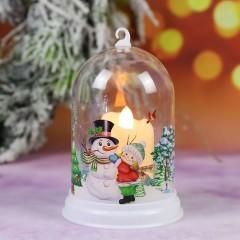 """Підсвічник """"Колба зі свічок - Сніговик"""""""