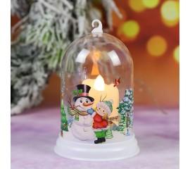 """Подсвечник """"Колба со свечей - Снеговик"""""""