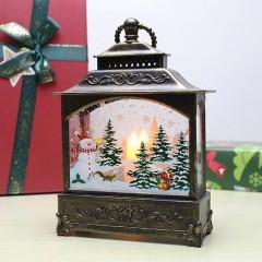 """Ліхтар зі свічкою бронза """"Сніговик"""""""