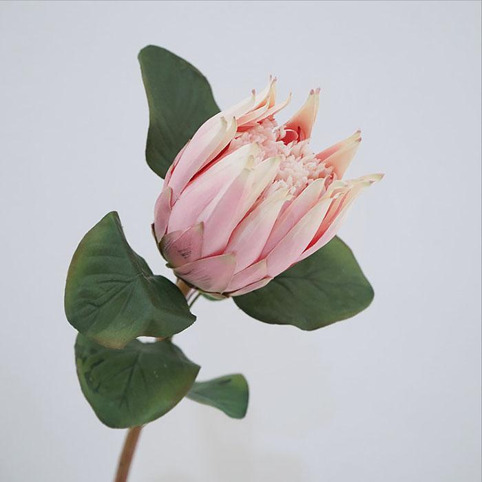"""Ветка цветок """"Протея"""" нежно-розовая 65 см"""