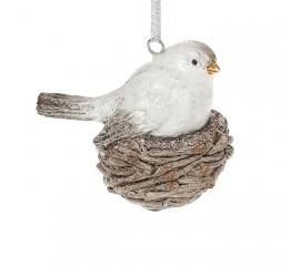Подвеска птичка белая 9 см