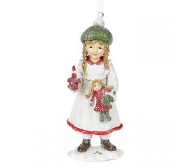 """Подвеска """"Девочка в белом с куклой"""" 13 см"""