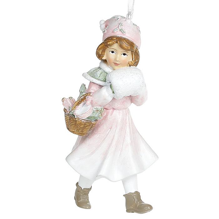 """Подвеска """"Девочка в розовом с корзинкой"""" 12 см"""