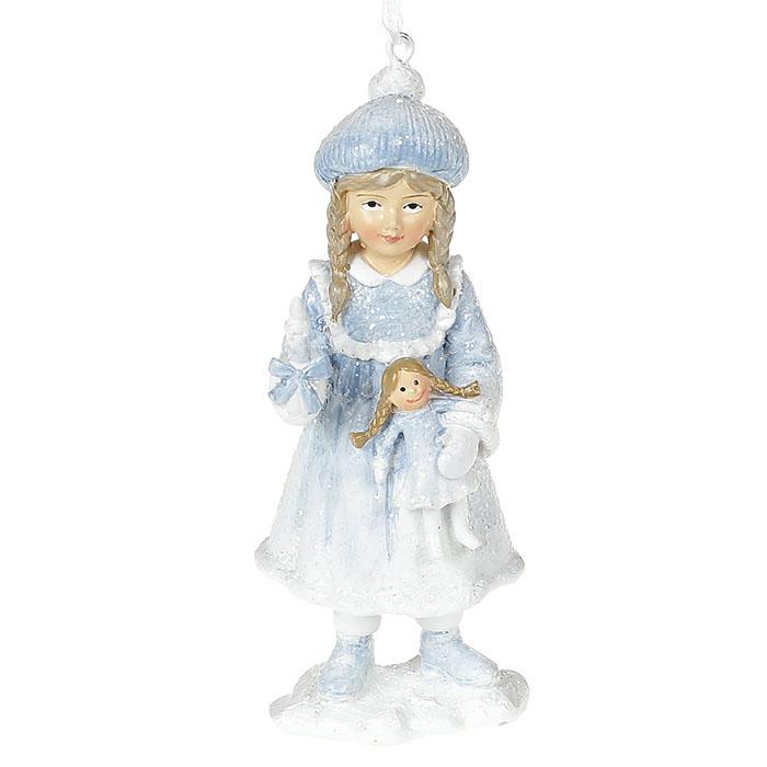 """Подвеска """"Девочка в голубом с куклой"""" 13 см"""