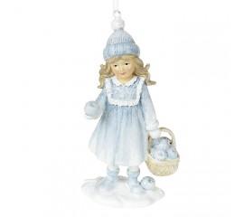 """Подвеска """"Девочка в голубом с яблоками"""" 13 см"""