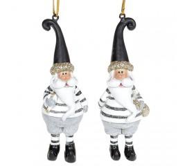"""Подвеска """"Санта в бело-черном"""""""