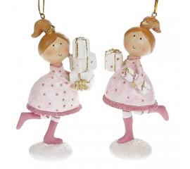 """Подвеска """"Девочка с подарками"""" в розовом"""