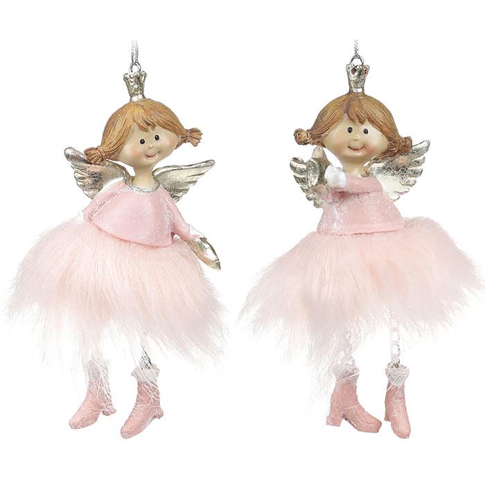 """Подвеска """"Ангелочек в меховой юбки"""" - розовый"""