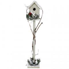 Декоративный домик серый в снегу 60 см