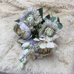 Букет роз с омелой- горчично-сиреневый