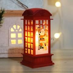 """Ліхтарик """"Телефонна будка - Санта"""" - червона"""