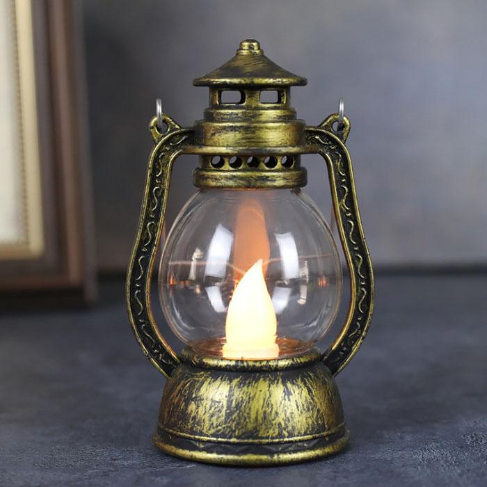 """Мини-фонарик """"Керосиновая лампа"""" бронза 12 см"""