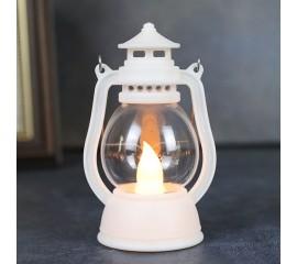 """Мини-фонарик """"Керосиновая лампа"""" белый 12 см"""