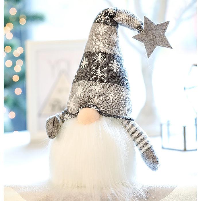 """Новогодняя игрушка с подсветкой """"Гном"""" в серой шапке"""
