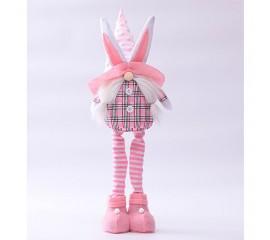 """Мягкая игрушка """"Розовый гномик девочка"""" в шапке с ушками"""