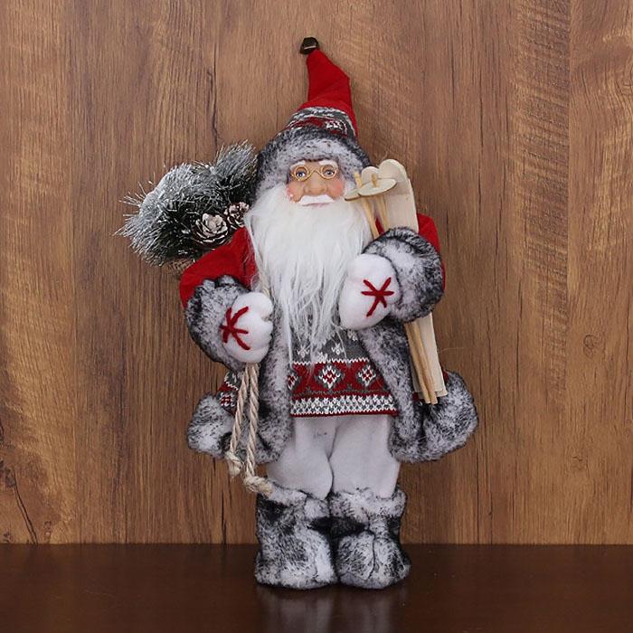 """Игрушка """"Дед Мороз"""" в сером 30 см"""