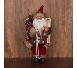 """Игрушка """"Дед Мороз"""" с лыжами в красном 30 см"""