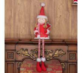 Сидячая кукла в красном платье 108 см
