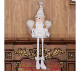 Сидячая кукла в белом платье 108 см