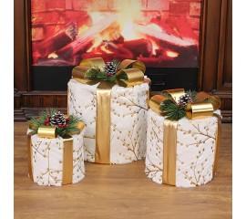 """Новогодний декор с подсветкой """"Набор подарки белые"""""""