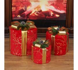 """Новогодний декор с подсветкой """"Набор подарки красные"""""""