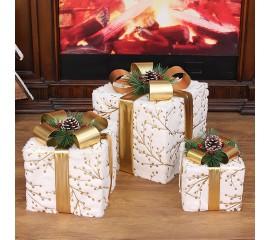 """Новогодний декор с подсветкой """"Набор подарки белые"""" квадратные"""
