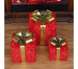"""Новогодний декор с подсветкой """"Набор подарки красные"""" квадратные"""