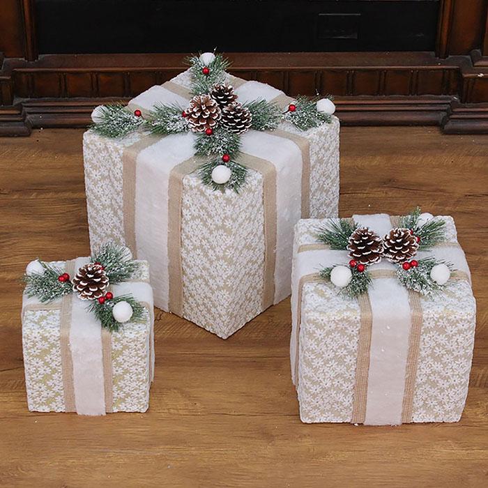 """Новогодний декор с подсветкой """"Набор подарки"""" квадратные"""