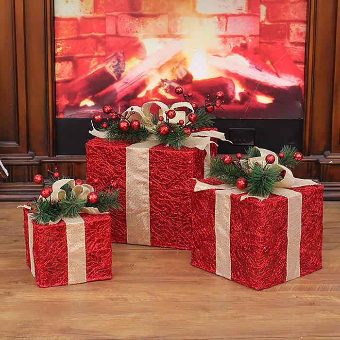 """Новогодний декор с подсветкой """"Набор подарки"""" красные ажурные"""