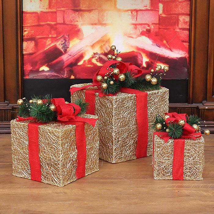 """Новогодний декор с подсветкой """"Набор подарки"""" золото ажурные"""