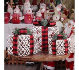 """Новогодний декор с подсветкой """"Набор подарки"""" белые с красный лентой"""