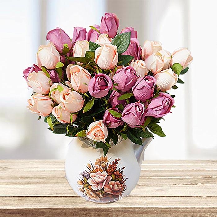 Букет роза в бутоне - кремовая