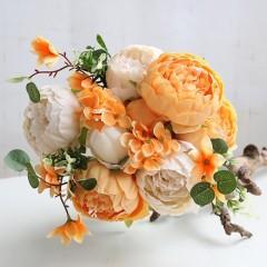 Букет пионы оранжево-белые