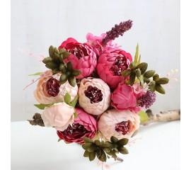 Букет пионы малиново-розовые