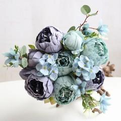 Букет пионы сиренево-голубые