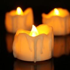 Светодиодная свеча с потеками - белая 4 см