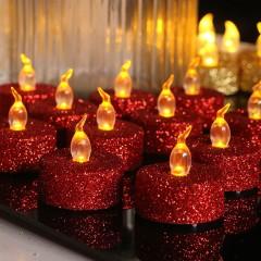 Светодиодная свечка блеск красная 3 см