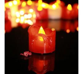 Светодиодная свеча с потеками - красная 4 см