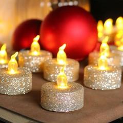 Светодиодная свечка блеск серебро 3 см