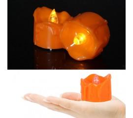 Светодиодная свеча с потеками - оранжевая 4 см