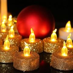 Светодиодная свечка блеск золото 3 см