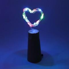 LED нить с пробкой - цветная, 20 светодиодов, с батарейками