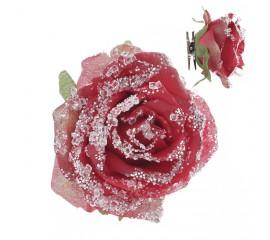 """Головка """"Роза в снегу"""" на прищепке - красная"""