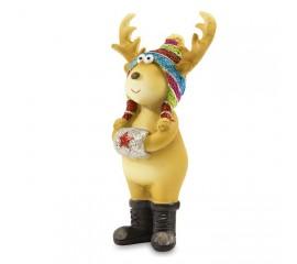 Фигурка олень в разноцветной шапочке 10 см