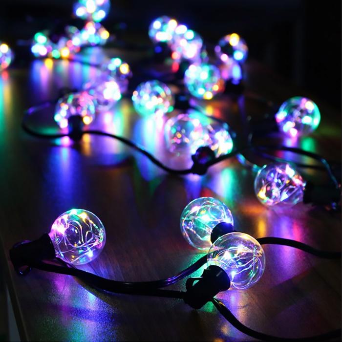 Гирлянда со светодиодными нитями RGB, лампы G40 - 3 м. 25 ламп