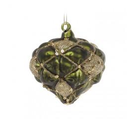 Елочная игрушка зеленая с золотом 8 см