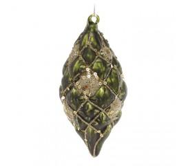Елочное украшение зеленое с золотом 12,5 см