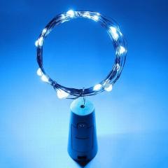 Светодиодная нить с пробкой, 20 led, с батарейками, голубой
